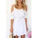 Cold Shoulder Lace Patchwork Drawstring Waist Plain Dress