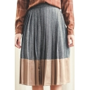 High Waist Pleated Color Block Patchwork Midi Skirt