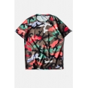 Round Neck Camouflage Color Block Loose Tee