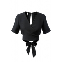 Plain Wrap V-Neck Short Sleeve Bow Tie Back Cropped Tee