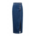 High Waist Button Fly Split Side Tube Maxi Denim Skirt