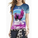 3D Unicorn Print Round Neck Short Sleeve Tee