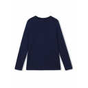 Round Neck Plain Long Sleeve Pullover Slim Tee