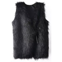 Plain Faux Fur Black Button Detail Vest