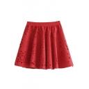 Elastic Waist Plain Crochet Cutout Mini Skirt