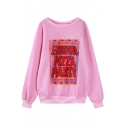 Round Neck Funny Letter Print Raglan Sleeve Sweatshirt