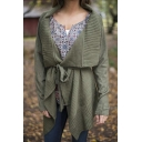 Lapel Asymmetrical Hem Plain Long Sleeve Cardigan with Belt