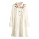 Floral Embroidery Button Detail Long Sleeve Shirt Dress