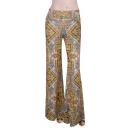 Elastic Waist Vintage Geometric Print Yellow Wide Leg Pants