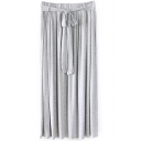 Bow Drawstring Waist Plain Pleated Maxi Skirt