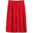 Elastic Waist Pleated Plain High Waist Midi Skirt