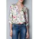 V-Neck Floral Print Long Sleeve Curved Hem Blouse