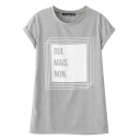 Crimping Short Sleeve Color Block Letter Print Tee