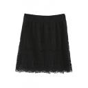 Plain Elastic Waist Lace Tube Mini Skirt