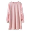 Round Neck Lace Balloon Sleeve Patchwork Split Side Tunic Sweatshirt