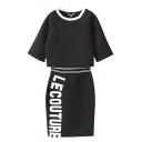 Round Neck Sweatshirt with Elastic Waist Letter Print Skirt