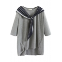Round Neck 3/4 Length Sleeve Scarf Patchwork Dip Hem Tunic Tee