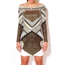 Off The Shoulder Long Sleeve Geometric Print Bodycon Dress