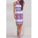 Round Neck Geometric Print High Low Bodycon Midi Dress