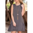 Round Neck Double Pockets Sleeveless Plain A-Line Dress