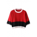 Round Neck 3/4 Length Sleeve Color Block Cropped Sweater