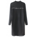 Black High Neck Lace Patchwork Hem Letter Jacquard Long Sweater
