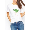 Cactus Print Short Sleeve Round Neck Loose White Tee