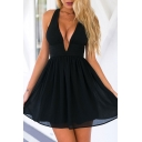 V-Neck Sleeveless Plain Black Chiffon Flare Mini Dress