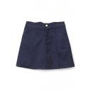 Zipper Fly A-Line Plain Mini High Waist Pockets Skirt