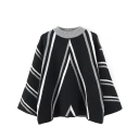 Batwing Sleeve Stripes Color Block Round Neck Sweater