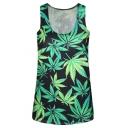 Green Leaf Print Scoop Neck Sleeveless Slim Tank