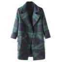 Plaid Notched Lapel Single Button Long Woolen Coat