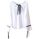 Pleated Collar Bow Tie Front Long Sleeve Blouse
