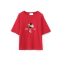 Cartoon & Letter Embroidery Half Sleeve Round Neck Tee