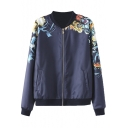 Floral Print Stand Up Neck Zipper Bomber Jacket