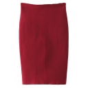 Plain High Waist Split Back Knit Pencil Midi Skirt