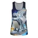 Scoop Neck Sleeveless Galaxy Animal Print Tank
