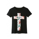 Floral & Letter Print Cross Round Neck Short Sleeve Tee