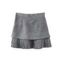 Plain Pleated Patchwork Layered Mini A-Line Skirt