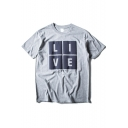 Square Letter Print Short Sleeve Round Neck Tee