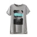 Cover Eyes Bear Print High Low Round Neck Short Sleeve Tee