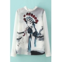 Lace Patchwork Stand Up Neck Peking Opera Character Blouse