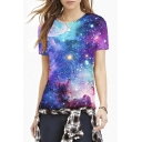 Blue Galaxy Print Round Neck Short Sleeve Slim Tee