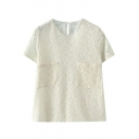 Plain Round Neck Short Sleeve Double Pocket Lace Blouse