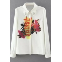 Beading Lapel Floral Print Button Down White Shirt