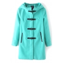 Green Hooded PU Belt Button Long Sleeve Woolen Coat