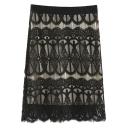 High Waist Zipper Fly Lace Tube Midi Plain Skirt