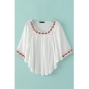 Tribal Embroidery 3/4 Length Sleeve Scoop Neck Curved Hem Tee