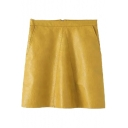 Plain High Waist Zip Back A-Line Double Pockets PU Mini Skirt