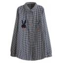 Cute Rabbit Patchwork Plaid Button Down Tunic Shirt